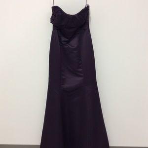 Plum strapless satin dress